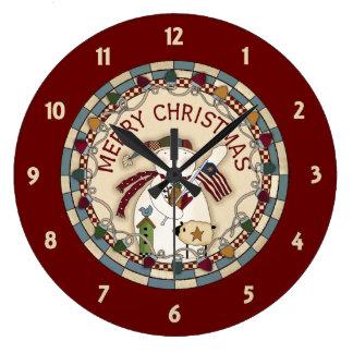 Prim Merry Christmas Snowmen Large Clock