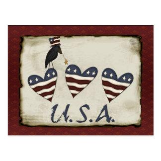 Prim Patriotic Postcard