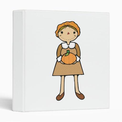 prim pilgrim girl with pumpkin 3 ring binder