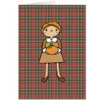 prim pilgrim girl with pumpkin card
