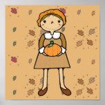 prim pilgrim girl with pumpkin poster