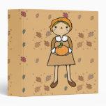 prim pilgrim girl with pumpkin vinyl binders