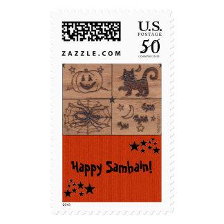 Prim Samhain Patches Woodburned Retro Postage