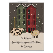 Prim Sheep Great Granddaughter Family Christmas Card