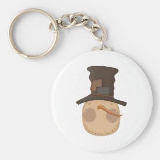 prim snowman head with hat basic round button keychain