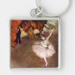 Prima Ballerina by Edgar Degas, Vintage Ballet Art Silver-Colored Square Keychain