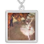 Prima Ballerina, Rosita Mauri by Edgar Degas Square Pendant Necklace