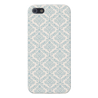 Prima Damask Pattern Blue on Cream Case For iPhone SE/5/5s