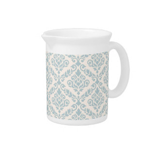 Prima Damask Pattern Blue on Cream Drink Pitcher