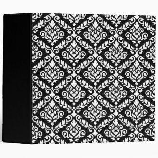 Prima Damask Pattern White on Black Binder