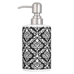 Prima Damask Pattern White On Black Soap Dispenser And Toothbrush Holder