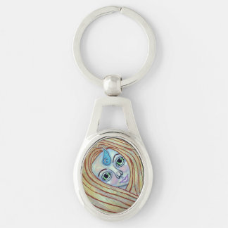 Primal Air Elemental Silver-Colored Oval Metal Keychain