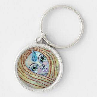 Primal Air Elemental Silver-Colored Round Keychain