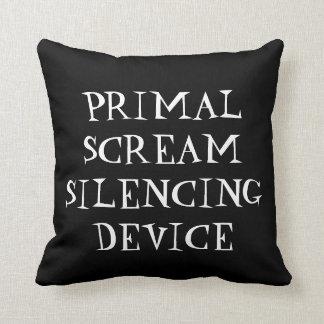 Primal scream silencing device throw pillow