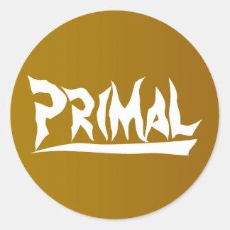 Primal Sticker: White/Brown Classic Round Sticker