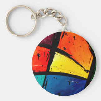 Primary Abstract Groovy Art Keychain