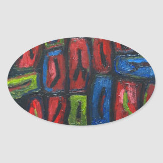 Primary Color Abstract Prison Cells Oval Sticker