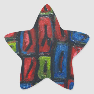 Primary Color Abstract Prison Cells Star Stickers