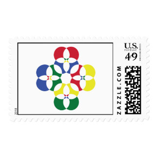 Primary Color Circle Design Postage Stamp