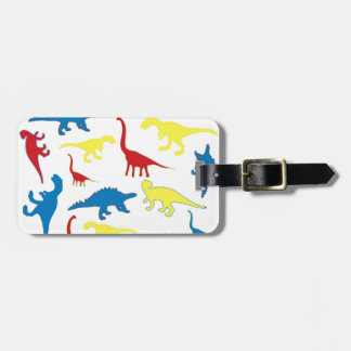 Primary color dinosaurs pattern bag tag