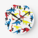 Primary color dinosaurs pattern round clock