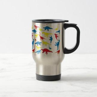 Primary color dinosaurs pattern travel mug