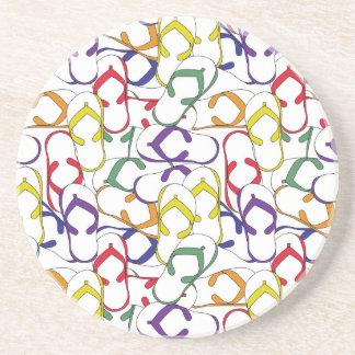 Primary Color Flip Flop Pattern flipflops summer Sandstone Coaster