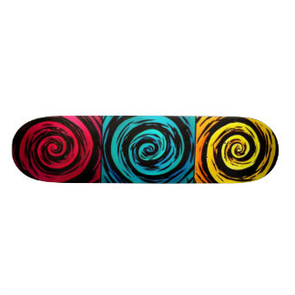 Primary Color Hypnotic Swirl Art Skateboard