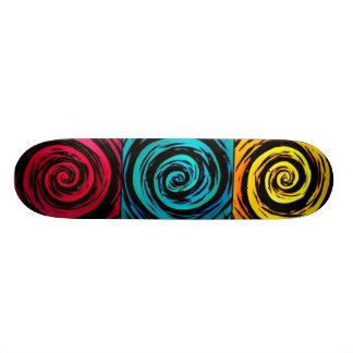 Primary Color Hypnotic Swirl Art Skate Decks