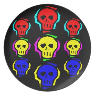 Primary Color Skulls Melamine Plate