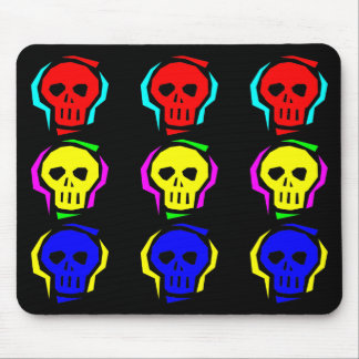 Primary Color Skulls Mouse Pad
