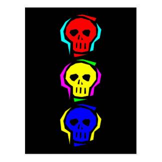 Primary Color Skulls Postcard