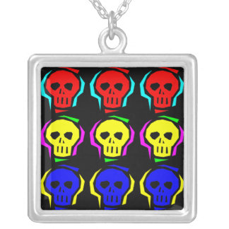Primary Color Skulls Silver Plated Necklace