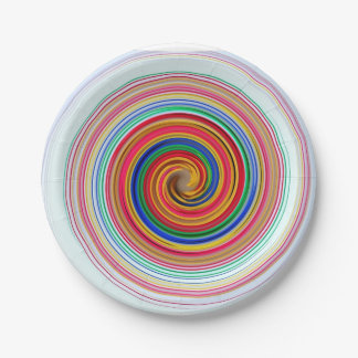 Primary Color Swirls Paper Plate