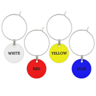 Primary Color + White Collection Wine Glass Charm