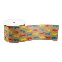 Primary Colors Airplanes Pattern Kids Satin Ribbon