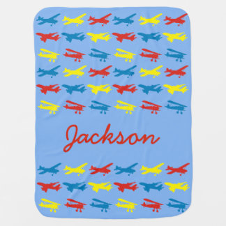 Primary Colors Airplanes Pattern Personalized Baby Blanket