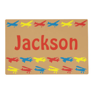 Primary Colors Airplanes Pattern Personalized Placemat