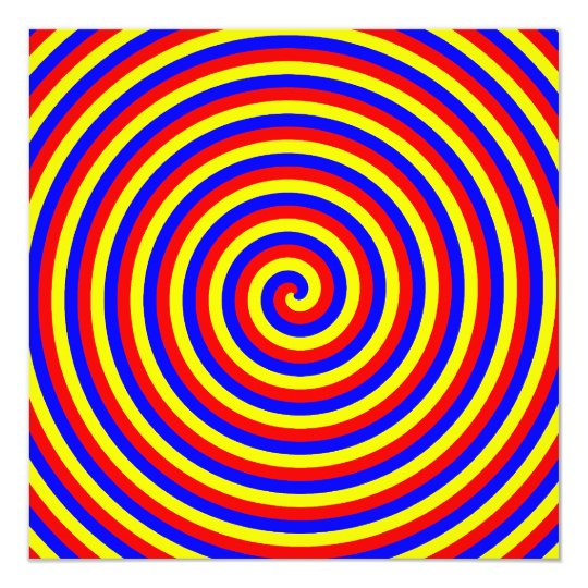 Primary Colors. Bright and Colorful Spiral. Card