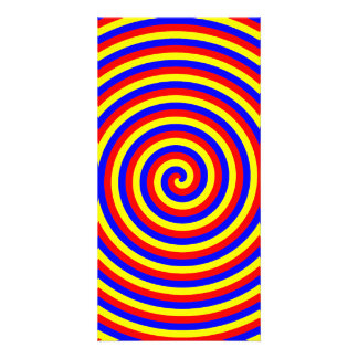 Primary Colors Bright and Colorful Spiral Picture Card