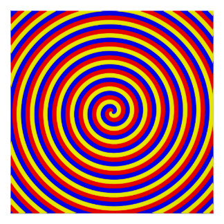 Primary Colors. Bright and Colorful Spiral. Poster