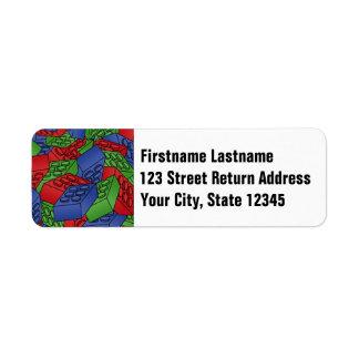Primary Colors Building Blocks Pattern Label