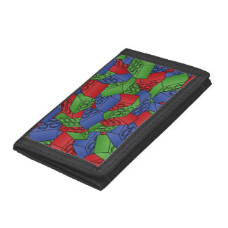 Primary Colors Building Blocks Pattern Trifold Wallet
