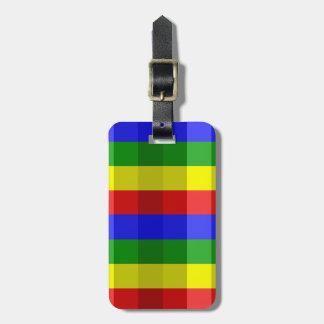 Primary Colors Checks Bag Tag