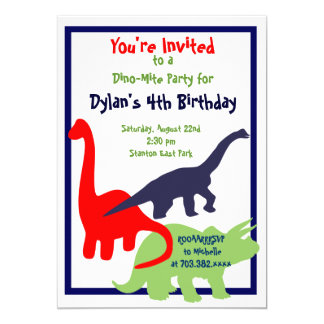Primary Colors Dinosaur Birthday Party Invitations