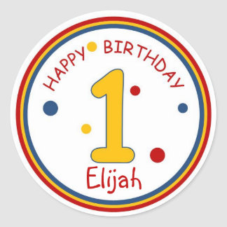 Primary Colors Happy Birthday Number 1 Classic Round Sticker