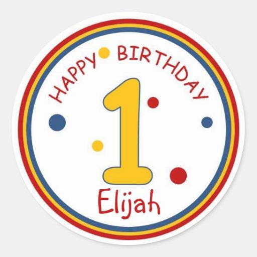 Primary Colors Happy Birthday Number 1 Round Stickers