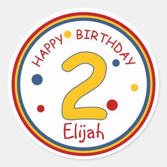 Primary Colors Happy Birthday Number 2 Classic Round Sticker