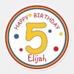 Primary Colors Happy Birthday Number 5 Sticker