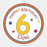 Primary Colors Happy Birthday Number 6 Round Stickers